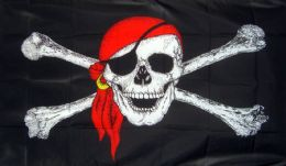 3ft x 2ft Pirate Ship Jolly Roger Skull and Crossbone with Bandana Flag Flags